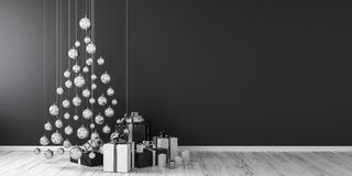 Η διακόσμηση και τα δώρα Χριστουγέννων τρισδιάστατες δίνουν τη χλεύη επάνω Στοκ Εικόνες