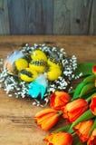 Η διακόσμηση τουλιπών και αυγών διακοπών Πάσχας και ξύλινο υπόβαθρο Στοκ Εικόνες