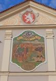 Ηλιακό ρολόι του παλαιού Δημαρχείου στο NAD Labem Brandys, τσεχικά στοκ φωτογραφία με δικαίωμα ελεύθερης χρήσης