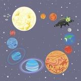Ηλιακό σύστημα πλανητών πλαισίων σε έναν κύκλο και ένα χαριτωμένο αλλοδαπό starshi Διανυσματική απεικόνιση