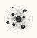 Ηλιακό σύστημα στο ύφος dotwork πλανήτες στην τροχιά Τρύγος απεικόνιση αποθεμάτων