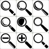 Η διανυσματική αναζήτηση γυαλιού Magnifier βρίσκει τα εικονίδια ζουμ Lupe Στοκ Εικόνες