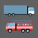 Η διανυσματική απεικόνιση αυτοκινήτων πυροσβεστικών οχημάτων απομόνωσε το γρήγορο συναγερμό μεταφορών οχημάτων μεταφορών έκτακτης απεικόνιση αποθεμάτων