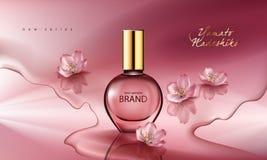 Η διανυσματική απεικόνιση ενός ρεαλιστικού αρώματος ύφους σε ένα μπουκάλι γυαλιού σε ένα ρόδινο υπόβαθρο με το sakura ανθίζει ελεύθερη απεικόνιση δικαιώματος