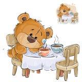 Η διανυσματική απεικόνιση καφετιού ενός teddy αντέχει σε έναν πίνακα με δύο φλυτζάνια και κάποιο απεικόνιση αποθεμάτων