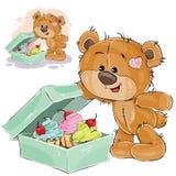 Η διανυσματική απεικόνιση καφετιού ενός teddy αντέχει το γλυκό δόντι άνοιξε ένα κιβώτιο των κέικ Στοκ Φωτογραφίες