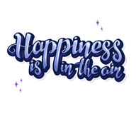 Η διανυσματική απεικόνιση της έμπνευσης εγγραφής χεριών αναφέρει για την ευτυχία Ευτυχές διακριτικό, τυπωμένη ύλη, λογότυπο, έμβλ ελεύθερη απεικόνιση δικαιώματος