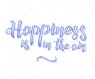 Η διανυσματική απεικόνιση της έμπνευσης εγγραφής χεριών αναφέρει για την ευτυχία Ευτυχές διακριτικό, τυπωμένη ύλη, λογότυπο, έμβλ απεικόνιση αποθεμάτων