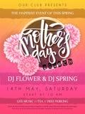 Η διανυσματική απεικόνιση της αφίσας γεγονότος ημέρας μητέρων με το στρογγυλό πλαίσιο, ανθίζοντας λουλούδια χρυσάνθεμων δίνει το