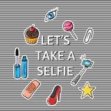 Η διανυσματική απεικόνιση του συνθήματος αφήνει να πάρει ένα selfie Στοκ εικόνες με δικαίωμα ελεύθερης χρήσης