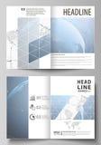 Η διανυσματική απεικόνιση του editable σχεδιαγράμματος δύο A4 σύγχρονων προτύπων κάλυψης σχήματος σχεδιάζει τα πρότυπα για το φυλ Στοκ φωτογραφία με δικαίωμα ελεύθερης χρήσης