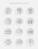 Η διανυσματική απεικόνιση των ειδήσεων ραδιοφωνικής αναμετάδοσης δημοσιογραφίας Μέσων Μαζικής Επικοινωνίας πέταξε τα επίπεδα επιχ Στοκ Φωτογραφία