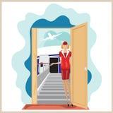 Η διανυσματική αστεία αεροσυνοδός αεροπλάνων προσκαλεί για να ταξιδεψει Στοκ Φωτογραφία