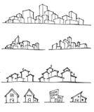 Η διανυσματική γραμμή απεικόνισης εικονικής παράστασης πόλης σκιαγράφησε επάνω EPS10 Στοκ Φωτογραφίες