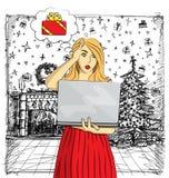 Η διανυσματική γυναίκα αγοράζει τα δώρα Χριστουγέννων on-line ελεύθερη απεικόνιση δικαιώματος