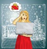 Η διανυσματική γυναίκα αγοράζει τα δώρα Χριστουγέννων on-line απεικόνιση αποθεμάτων
