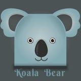 Η διανυσματική εικόνα ενός χαριτωμένου koala αντέχει το τετραγωνικό ύφος Στοκ Εικόνες