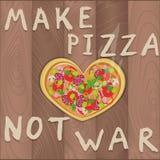 Η διανυσματική ειρηνόφιλη πίτσα στο ξύλινο υπόβαθρο στο επίπεδο ύφος και η καρδιά διαμορφώνουν και κάνουν το πολεμικό κείμενο πιτ Στοκ φωτογραφία με δικαίωμα ελεύθερης χρήσης