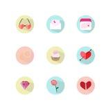 Η διανυσματική καθορισμένη αγάπη καρδιών εικονιδίων αυξήθηκε δαχτυλίδια βελών διαμαντιών cupid ` s cupcake Στοκ φωτογραφία με δικαίωμα ελεύθερης χρήσης