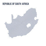 Η διανυσματική περίληψη εκκόλαψε το χάρτη της Δημοκρατίας της Νοτίου Αφρικής με τις σπειροειδείς γραμμές που απομονώθηκαν σε ένα  Στοκ Φωτογραφία