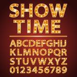 Η διανυσματική πορτοκαλιά πηγή επιστολών λαμπτήρων νέου παρουσιάζει τον κινηματογράφο ή θέατρο Στοκ φωτογραφία με δικαίωμα ελεύθερης χρήσης