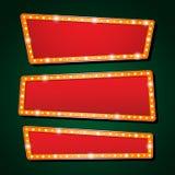 Η διανυσματική πορτοκαλιά πηγή επιστολών λαμπτήρων νέου παρουσιάζει τον κινηματογράφο ή θέατρο Στοκ Εικόνες