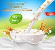 Η διανυσματική ρεαλιστική αφίσα με έναν παφλασμό γάλακτος και η έκχυση γάλακτος σε ένα φλυτζάνι με δημητριακά προγευματίζουν Στοκ εικόνα με δικαίωμα ελεύθερης χρήσης