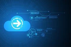 Η διανυσματική τεχνολογία μεταφορτώνει με ένα σχήμα σύννεφων Στοκ φωτογραφία με δικαίωμα ελεύθερης χρήσης