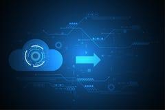 Η διανυσματική τεχνολογία μεταφορτώνει με το σχήμα σύννεφων Στοκ φωτογραφίες με δικαίωμα ελεύθερης χρήσης