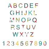 Η διανυσματική τυπογραφία έθεσε με την ακολουθία επιστολών αλφάβητου από το Α στο Ω και τους αριθμούς Επιστολές και ψηφία Abc που Στοκ εικόνα με δικαίωμα ελεύθερης χρήσης