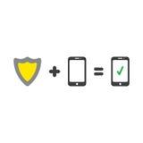 Η διανυσματική φρουρά ασπίδων συν το smartphone είναι ίση με το έξυπνο τηλέφωνο με το chec Στοκ φωτογραφία με δικαίωμα ελεύθερης χρήσης