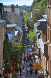 Rue du Petit-Champlain, πόλη του Κεμπέκ Στοκ Φωτογραφία