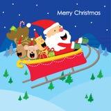 Η διασκέδαση σκυλιών δώρων Santa κειμένων Χαρούμενα Χριστούγεννας απολαμβάνει το διάνυσμα κινούμενων σχεδίων Στοκ Εικόνες