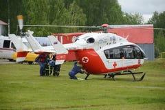 Η ιατρική βοήθεια ΕΕ-145 έκτακτης ανάγκης ελικοπτέρων στη σειρά της διάσωσης Noginsk κεντροθετεί EMERCOM της Ρωσίας στο διεθνές σ Στοκ Εικόνες