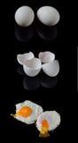 Η διαδικασία αυγά ενός τα μαύρα υποβάθρου: ολόκληρα αυγά, κοχύλι Στοκ Εικόνες