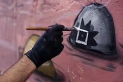 Η διαδικασία τα γκράφιτι Στοκ εικόνα με δικαίωμα ελεύθερης χρήσης