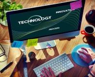 Η διαδικασία τεχνολογίας καινοτομεί έννοια στοιχείων δικτύων στοκ εικόνα