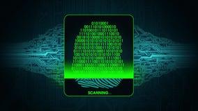 Η διαδικασία της ανίχνευσης δακτυλικών αποτυπωμάτων - το ψηφιακό σύστημα ασφαλείας, αποτέλεσμα της πρόσβασης ανίχνευσης δακτυλικώ ελεύθερη απεικόνιση δικαιώματος