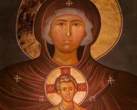 Η ιερά Mary και εικονίδιο του Ιησού Στοκ Φωτογραφίες