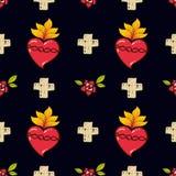 Η ιερή καρδιά, σταυρός, αυξήθηκε άνευ ραφής σχέδιο απεικόνιση αποθεμάτων