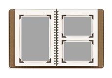 Ηλικίας σελίδες λευκωμάτων φωτογραφιών με τα αναδρομικά πλαίσια φωτογραφιών διανυσματική απεικόνιση