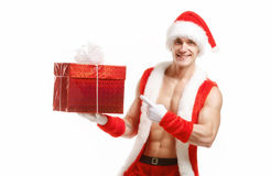 Η ικανότητα Santa παρουσιάζει κόκκινο κιβώτιο Στοκ Εικόνες
