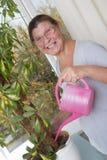 Ηλικιωμένη γυναίκα που φροντίζει για τις σε δοχείο εγκαταστάσεις Στοκ Φωτογραφίες