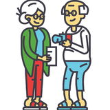 Ηλικιωμένη οικογένεια ζευγών στην έννοια διακοπών διανυσματική απεικόνιση