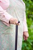 Ηλικιωμένη παχύσαρκη γυναίκα που περπατά με το ραβδί Στοκ Φωτογραφίες