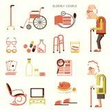 Ηλικιωμένοι άνθρωποι και αντικείμενα για τη ζωή απεικόνιση αποθεμάτων