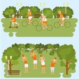 Ηλικιωμένοι άνθρωποι που κάνουν τις ασκήσεις διανυσματική απεικόνιση
