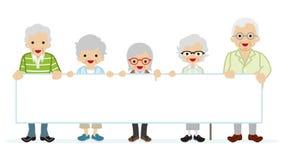 Ηλικιωμένοι άνθρωποι που κρατούν τον κενό πίνακα μηνυμάτων διανυσματική απεικόνιση