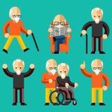 Ηλικιωμένοι Ηλικιωμένη δραστηριότητα, ηλικιωμένη προσοχή διανυσματική απεικόνιση