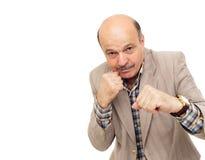 Ηλικιωμένο άτομο στον εγκιβωτισμό κοστουμιών στοκ φωτογραφία με δικαίωμα ελεύθερης χρήσης